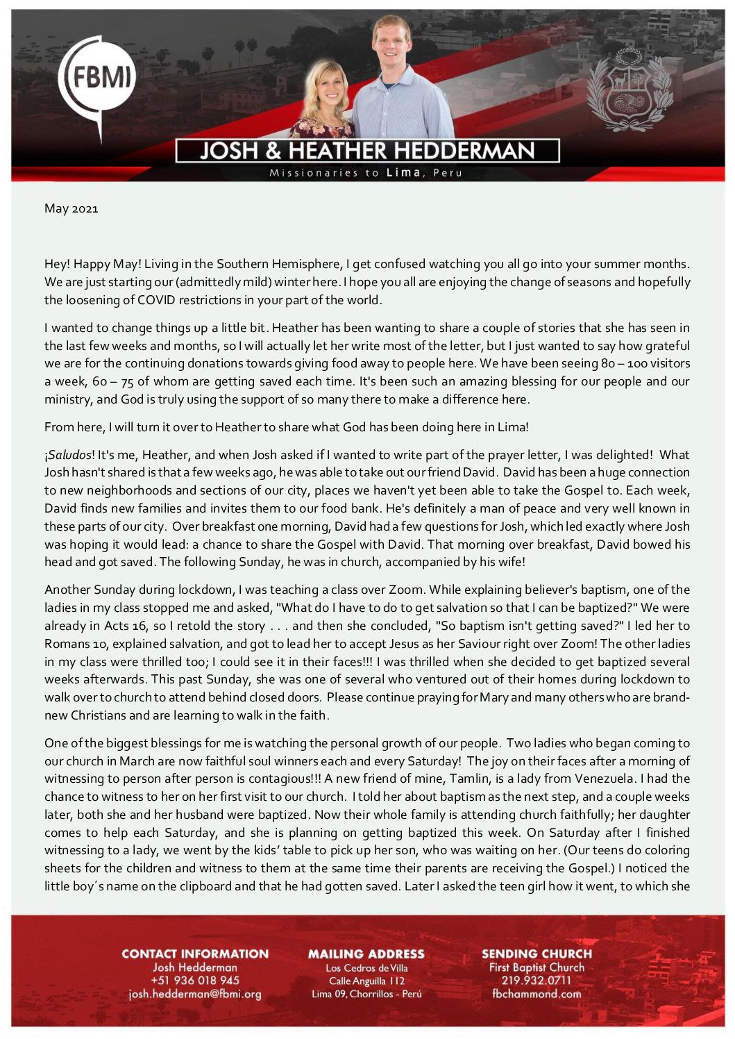 thumbnail of Josh Hedderman May 2021 Prayer Letter