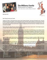 Justin and Holly Williams Prayer Letter: The Lord Will Perfect That Which Concerneth Me