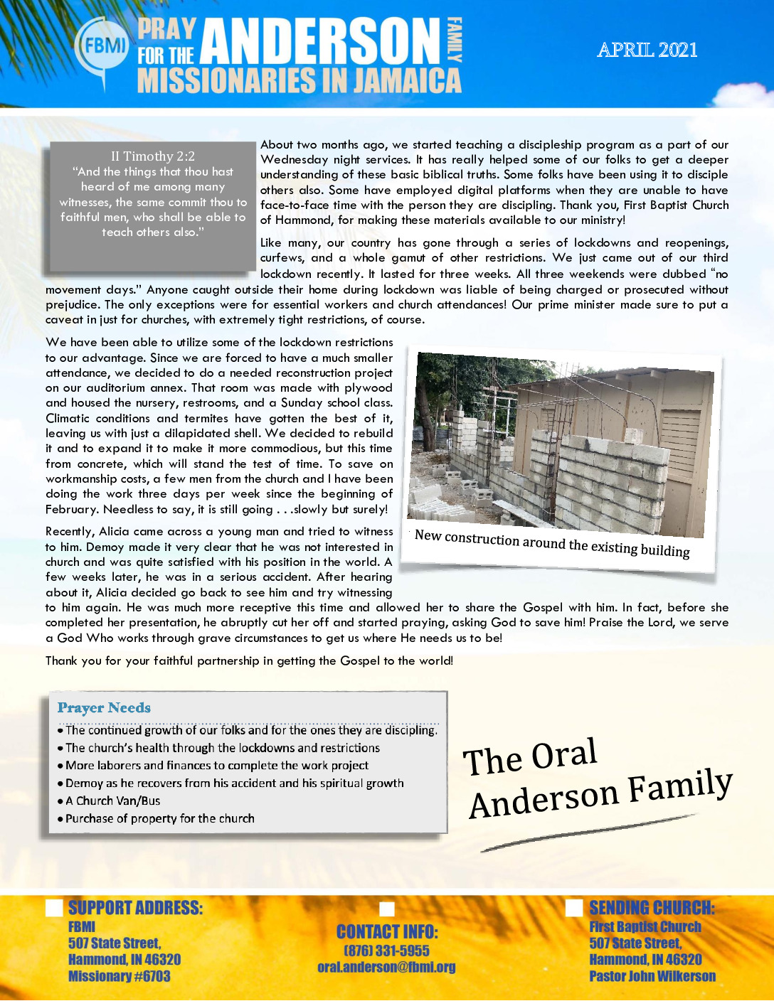 thumbnail of Oral Anderson April 2021 Prayer Letter