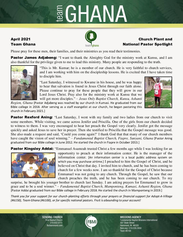 thumbnail of Team Ghana April 2021 National Pastor Update