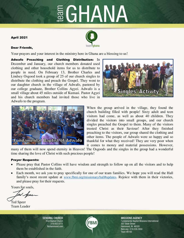 thumbnail of Team Ghana April 2021 Update