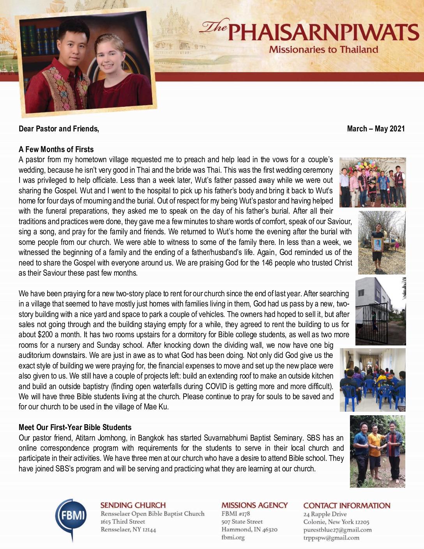 thumbnail of Teerapat Phaisarnpiwat Mar-May 2021 Prayer Letter – 2 Revised