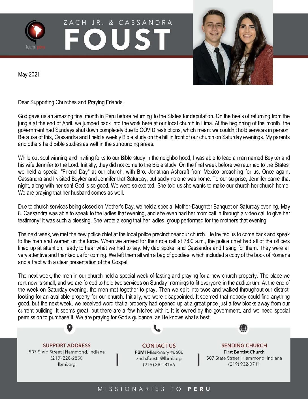 thumbnail of Zach Foust Jr. May 2021 Prayer Letter