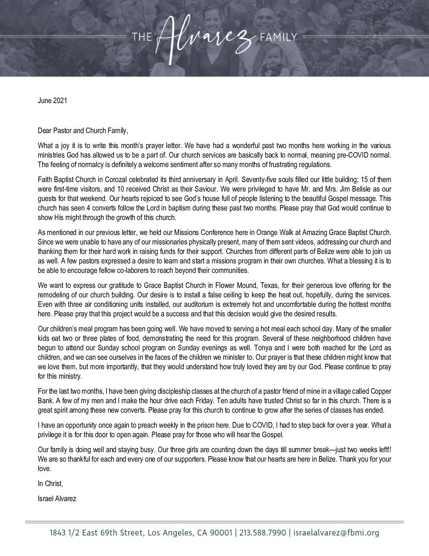 thumbnail of Israel Alvarez June 2021 Prayer Letter