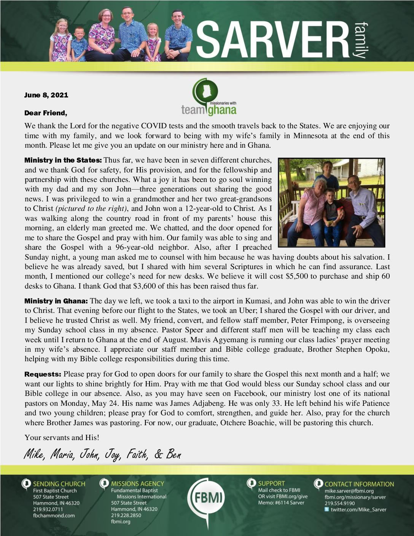 thumbnail of Mike Sarver June 2021 Prayer Letter