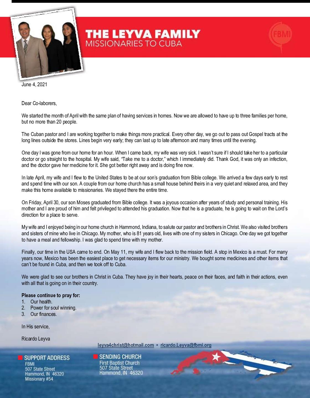 thumbnail of Ricardo Leyva June 2021 Prayer Letter