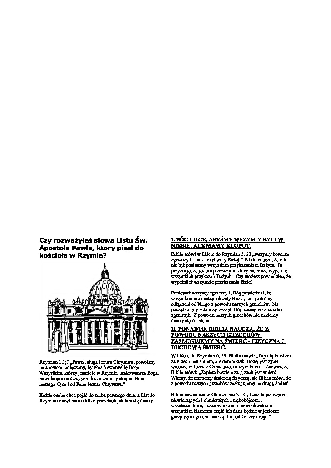 thumbnail of Czy rozważyłeś słowa Listu Św. Apostoła Pawła, ktory pisał do kościoła w Rzymie