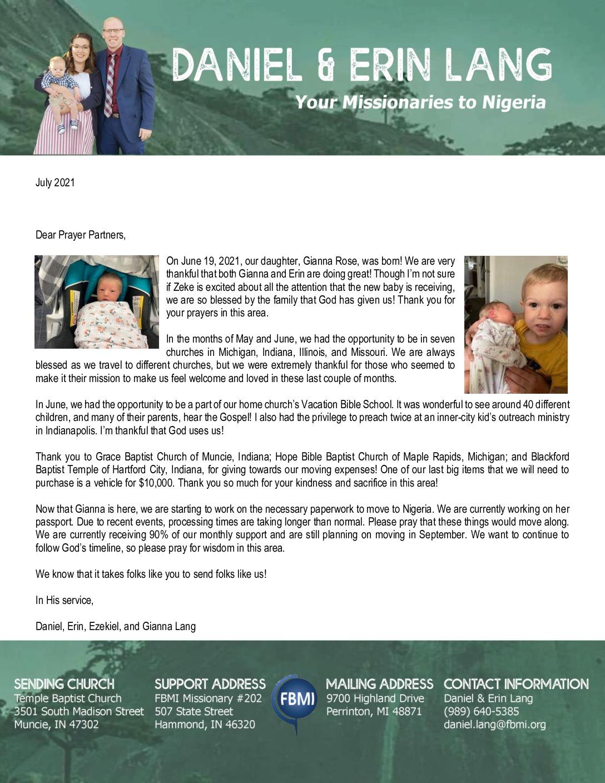 thumbnail of Daniel Lang July 2021 Prayer Letter – Revised