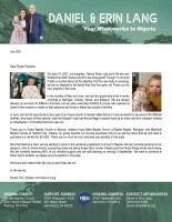 Daniel and Erin Lang Prayer Letter: New Addition!