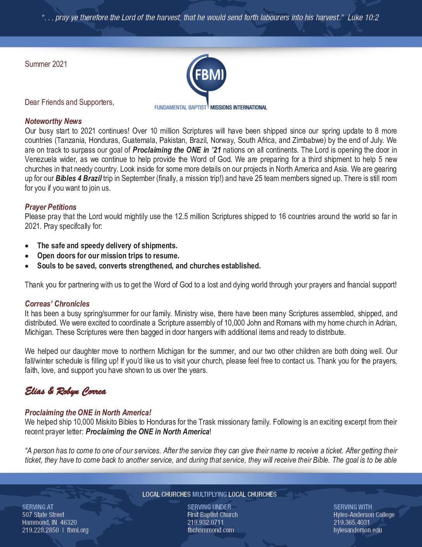 thumbnail of Elias Correa Summer 2021 Prayer Letter
