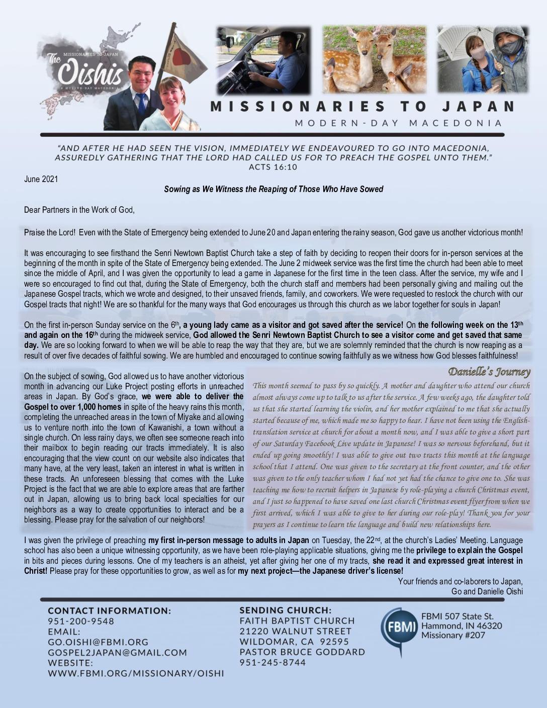 thumbnail of Go Oishi June 2021 Prayer Letter