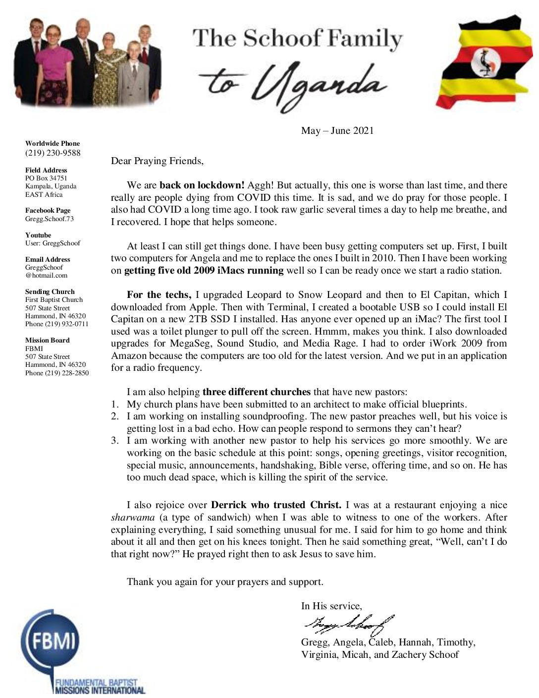 thumbnail of Gregg Schoof May-Jun 2021 Prayer Letter – Revised