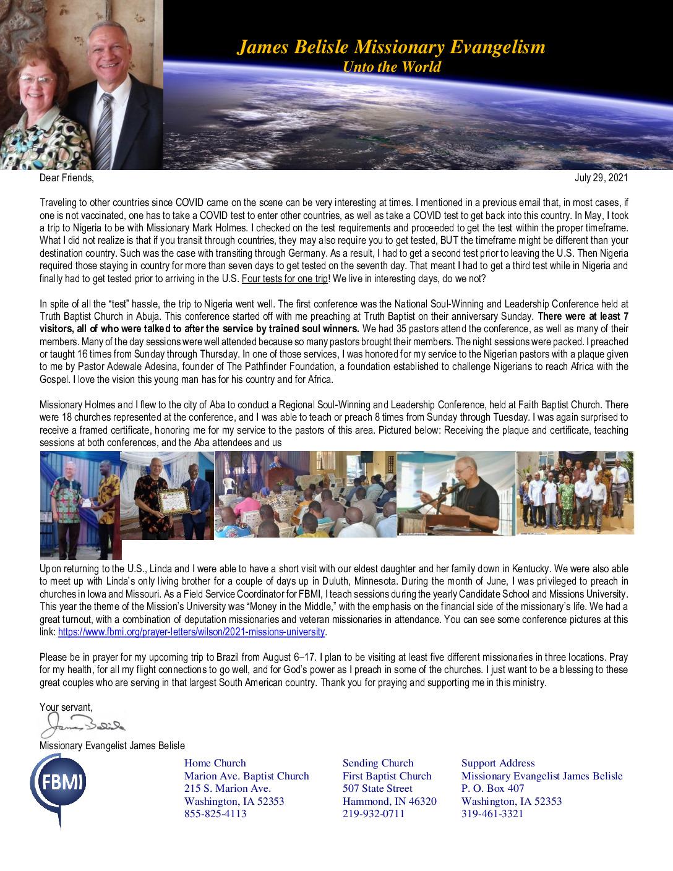 thumbnail of James Belisle July 2021 Prayer Letter