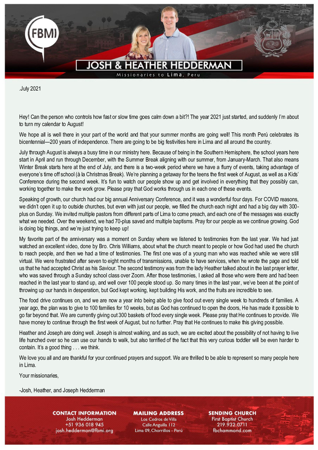 thumbnail of Josh Hedderman July 2021 Prayer Letter – Revised