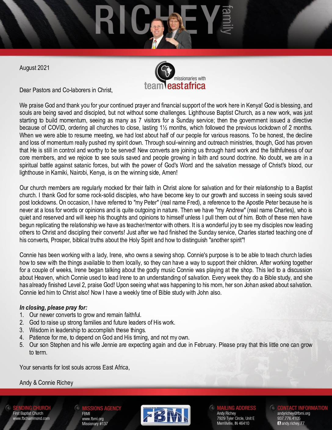 thumbnail of Andy Richey August 2021 Prayer Letter