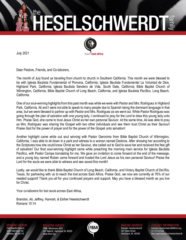 thumbnail of Brandon Heselschwerdt July 2021 Prayer Letter