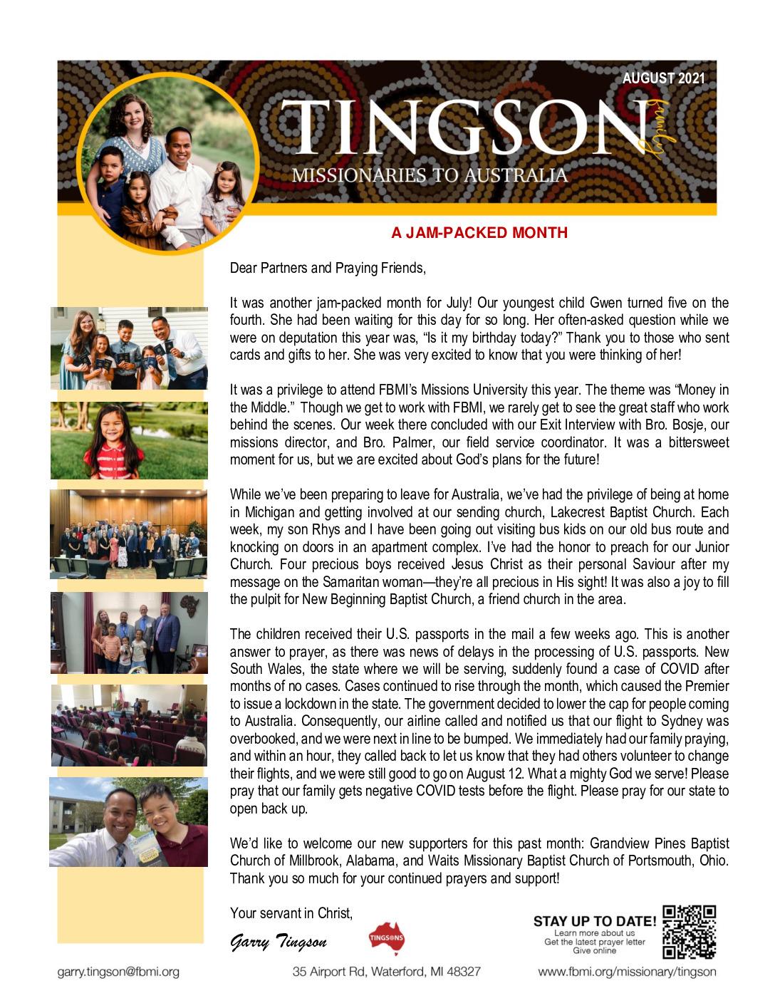 thumbnail of Garry Tingson August 2021 Prayer Letter