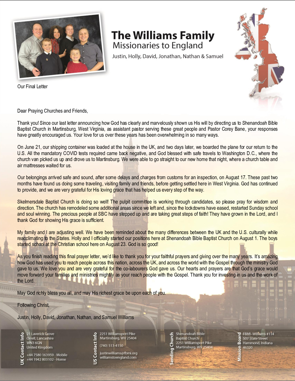 thumbnail of Justin Williams Final Prayer Letter