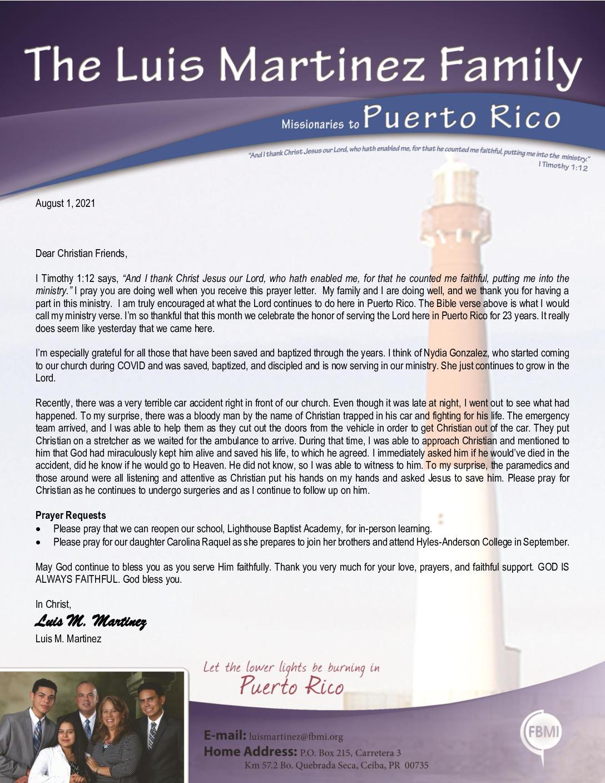thumbnail of Luis Martinez August 2021 Prayer Letter