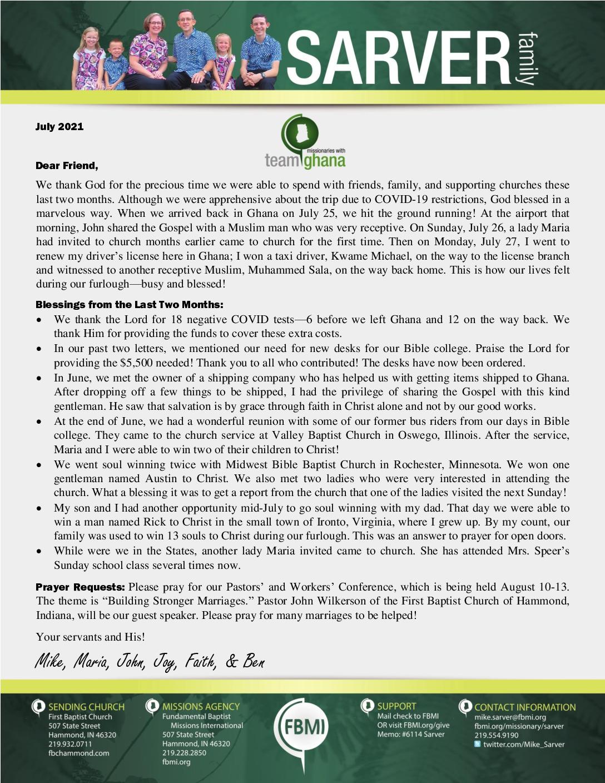 thumbnail of Mike Sarver July 2021 Prayer Letter