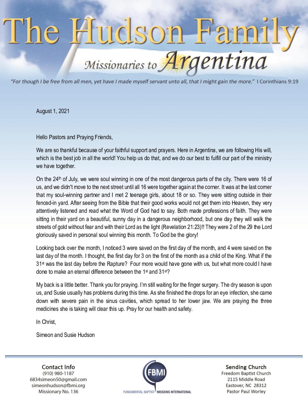 thumbnail of Simeon Hudson August 2021 Prayer Letter