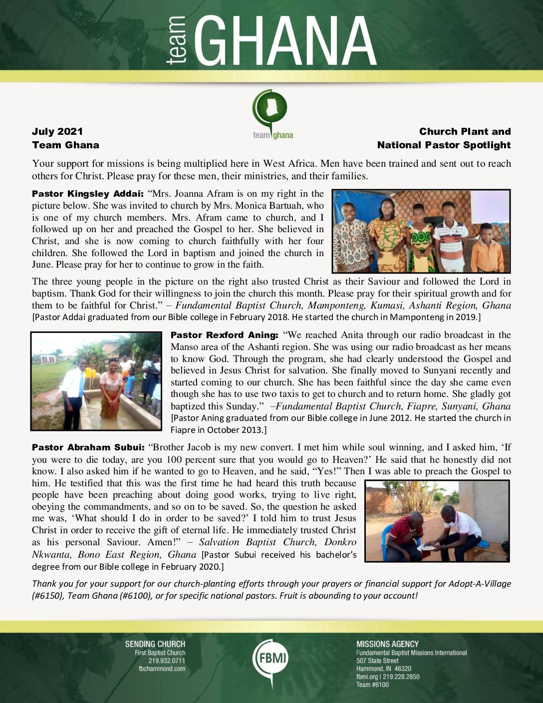 thumbnail of Team Ghana July 2021 National Pastor Update
