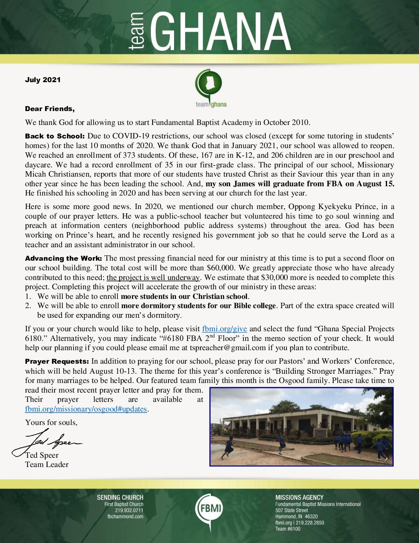 thumbnail of Team Ghana July 2021 Prayer Letter