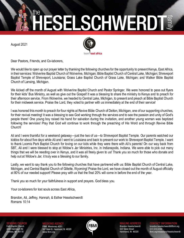 thumbnail of Brandon Heselschwerdt August 2021 Prayer Letter – Revised