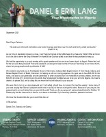 Daniel and Erin Lang Prayer Letter: Almost Ready to Leave!