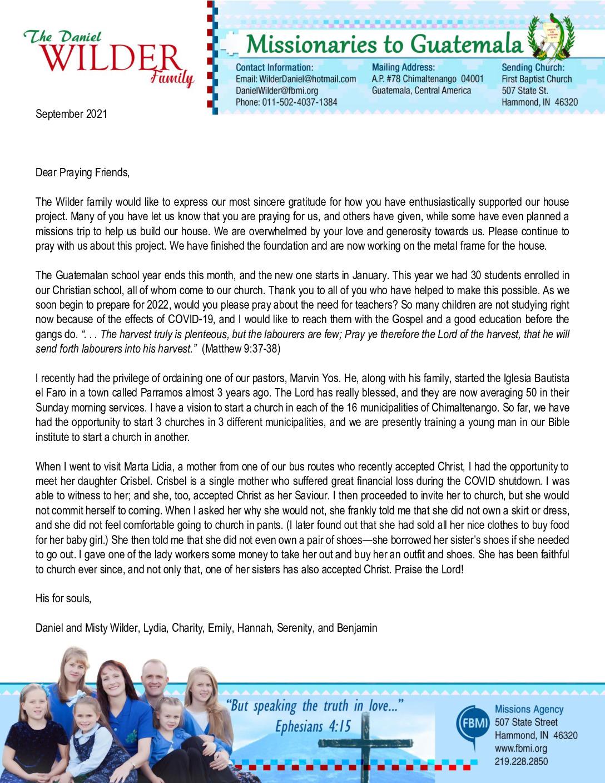 thumbnail of Daniel Wilder September 2021 Prayer Letter