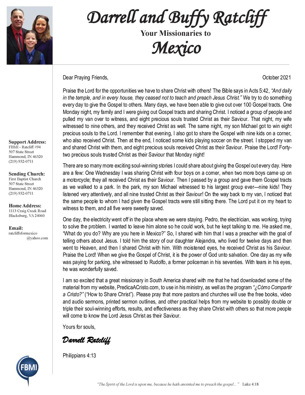 thumbnail of Darrell Ratcliff October 2021 Prayer Letter