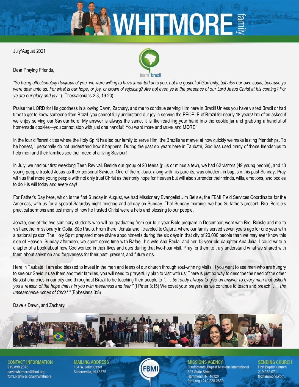 thumbnail of Dave Whitmore Jul-Aug 2021 Prayer Letter – Revised