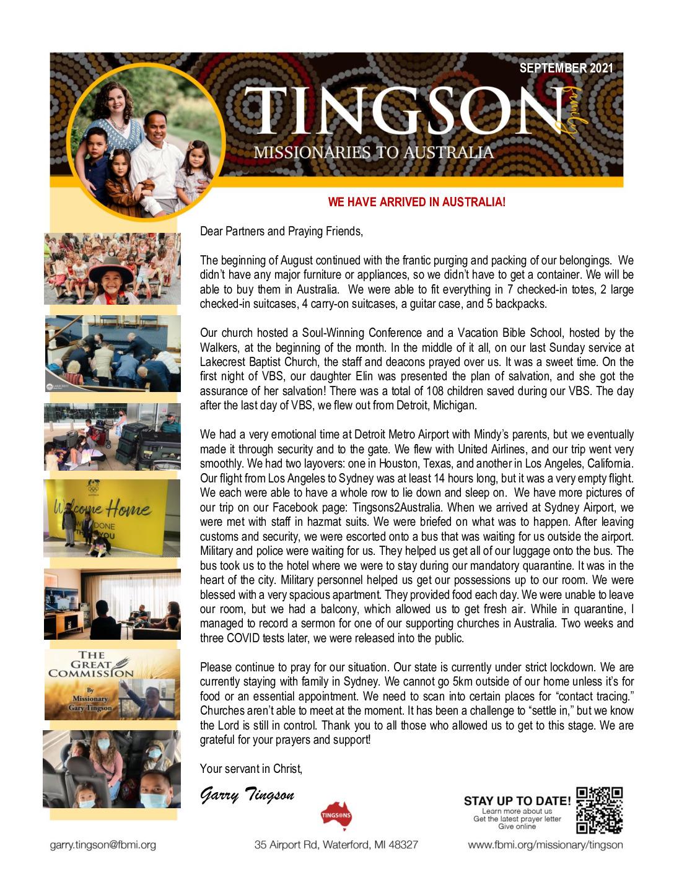 thumbnail of Garry Tingson September 2021 Prayer Letter