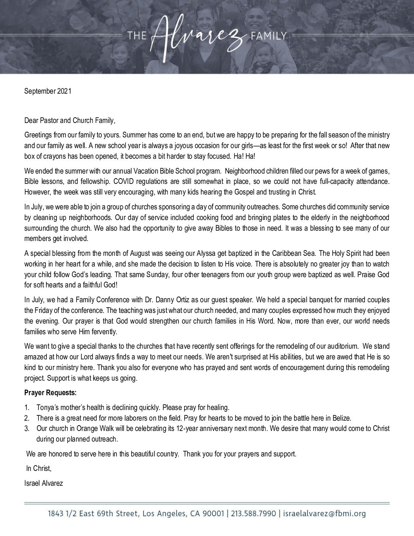thumbnail of Israel Alvarez September 2021 Prayer Letter