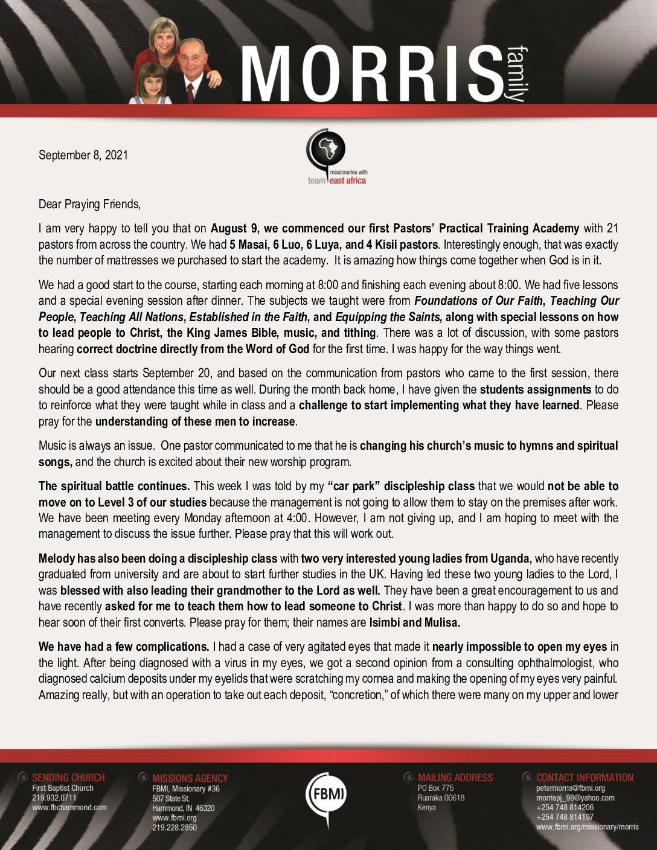 thumbnail of Peter Morris September 2021 Prayer Letter – Revision