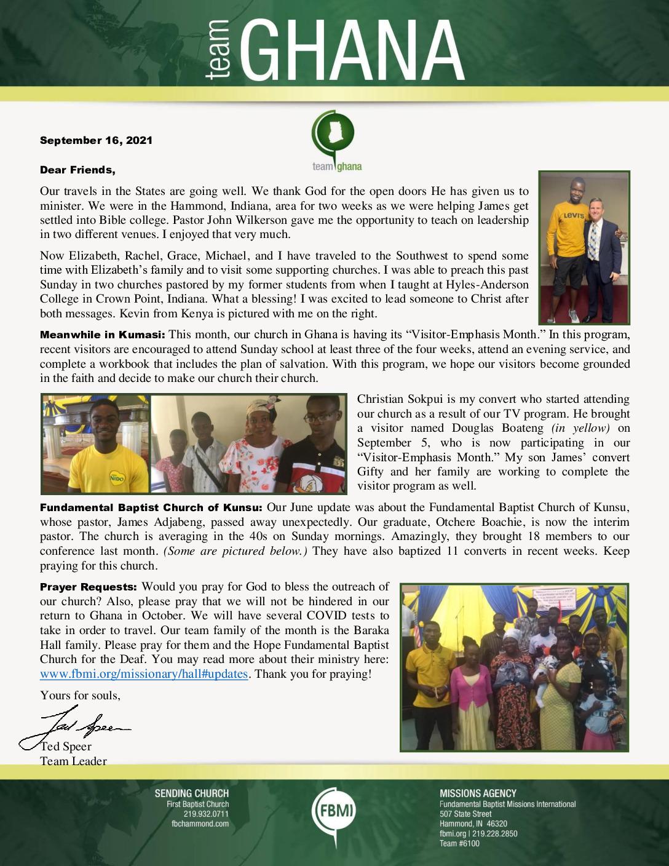 thumbnail of Team Ghana September 2021 Update