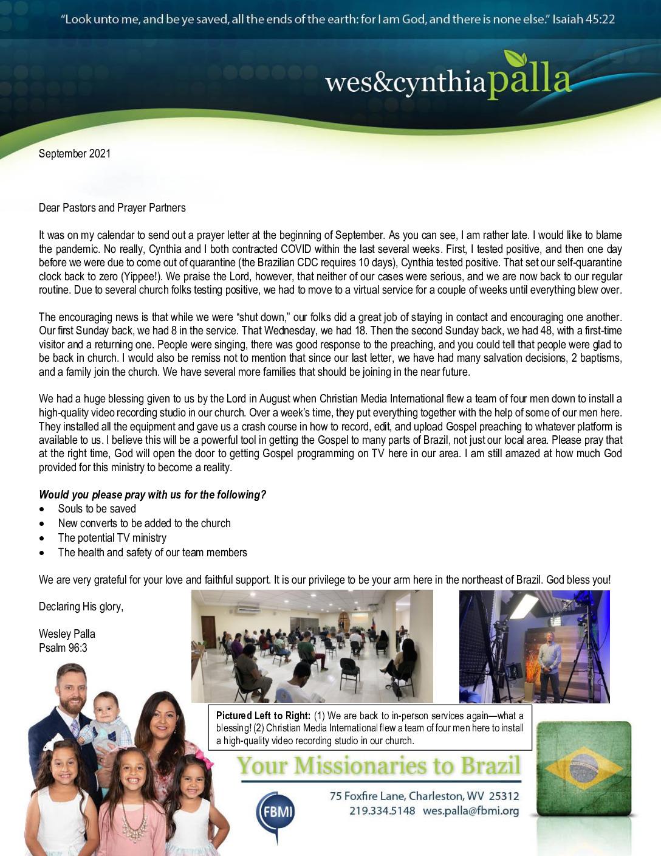 thumbnail of Wes Palla September 2021 Prayer Letter