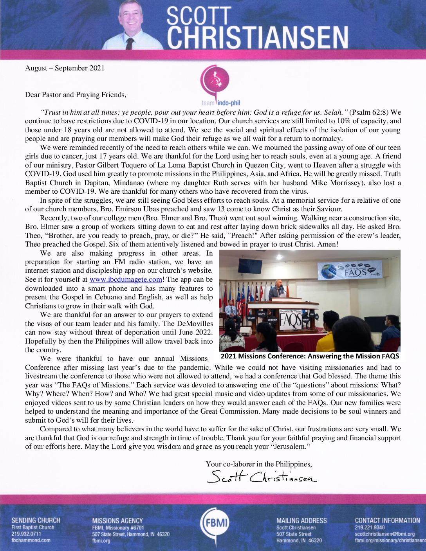 thumbnail of Scott Christiansen Aug-Sep 2021 Prayer Letter – Revised
