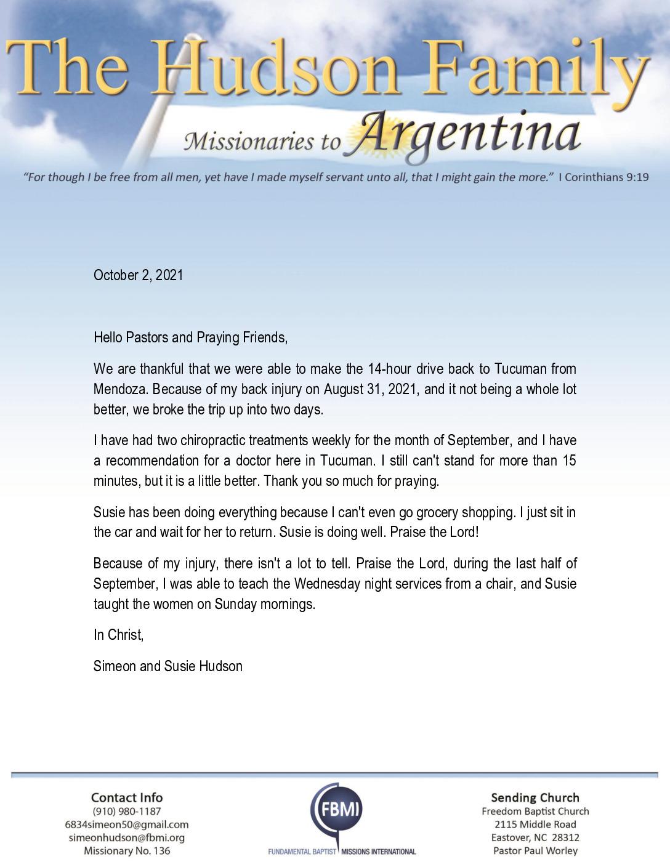 thumbnail of Simeon Hudson October 2021 Prayer Letter
