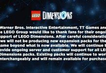 LEGO Dimensions Cancellation Notice
