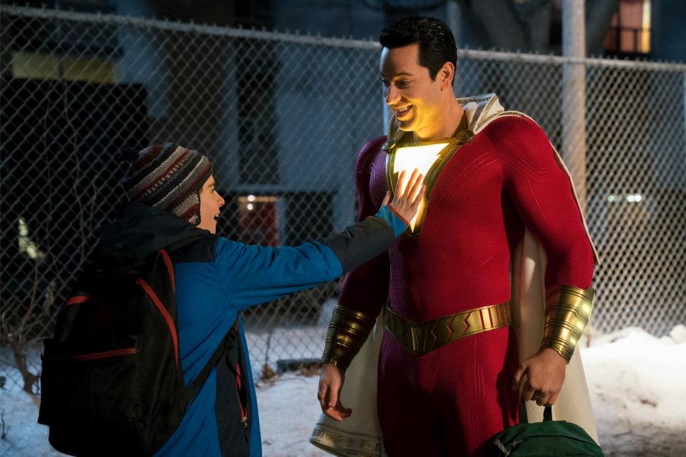 "(L-r) JACK DYLAN GRAZER as Freddy Freeman and ZACHARY LEVI as Shazam in New Line Cinema's action adventure ""SHAZAM!,"" a Warner Bros. Pictures release."