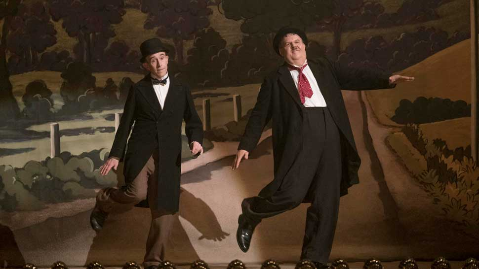 Left to right: Steve Coogan as Stan Laurel, John C. Reilly as Oliver Hardy, Photo by Nick Wall, Courtesy of Sony Pictures Classics