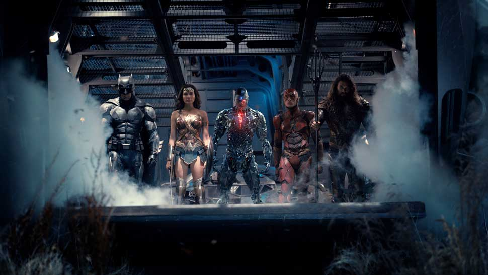"""(L-R) BEN AFFLECK as Batman, GAL GADOT as Wonder Woman, RAY FISHER as Cyborg, EZRA MILLER as The Flash and JASON MOMOA as Aquaman in Warner Bros. Pictures action adventure """"JUSTICE LEAGUE,"""" a Warner Bros. Pictures release."""
