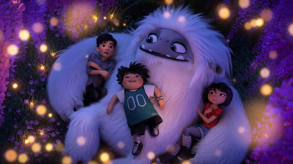 """(from left) - Jin (Tenzing Norgay Trainor), Peng (Albert Tsai) and Yi (Chloe Bennet) with Everest in DreamWorks Animation and Pearl Studio's """"Abominable,"""" written and directed by Jill Culton."""