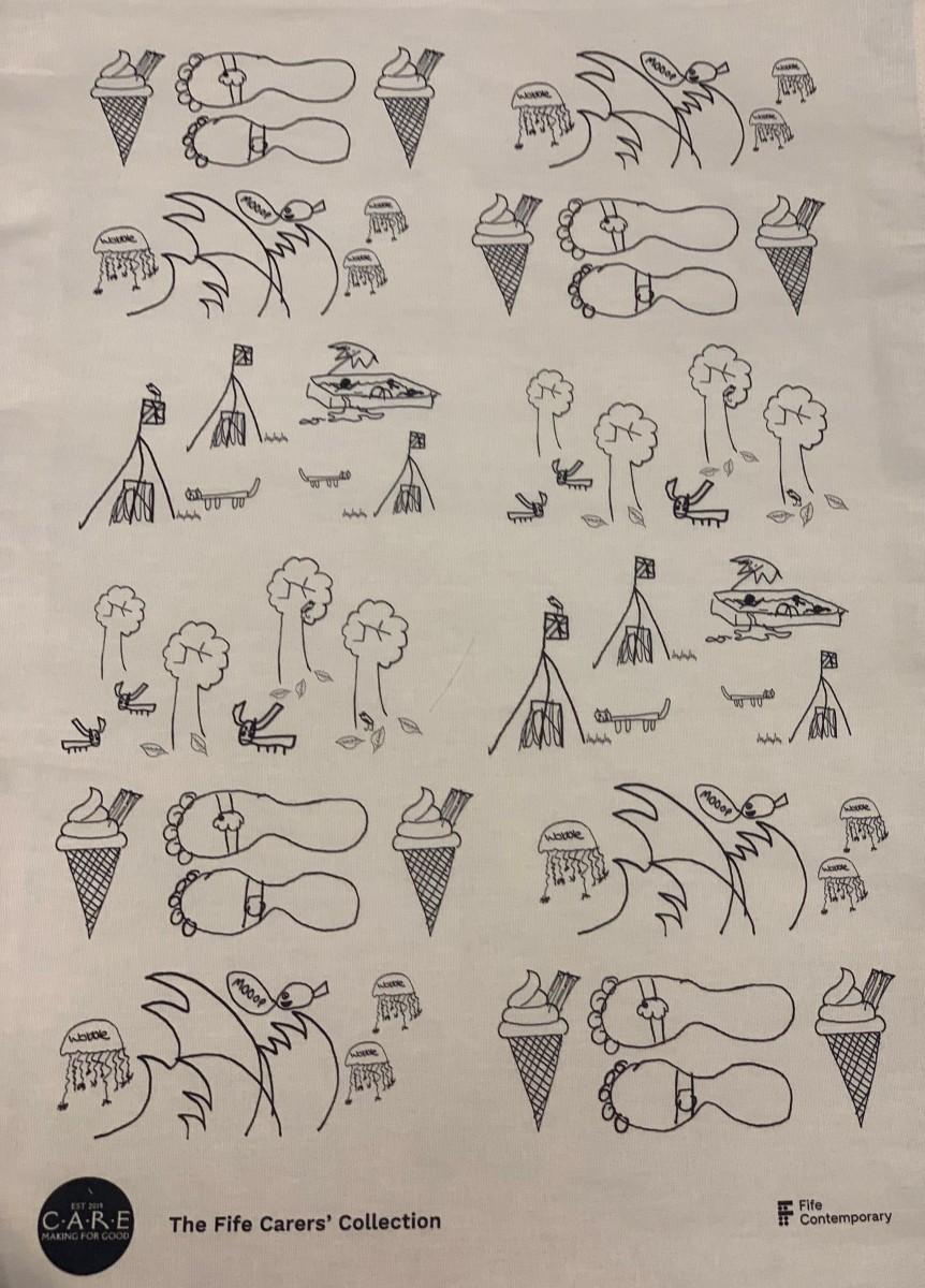 Tea Towel with Illustrations