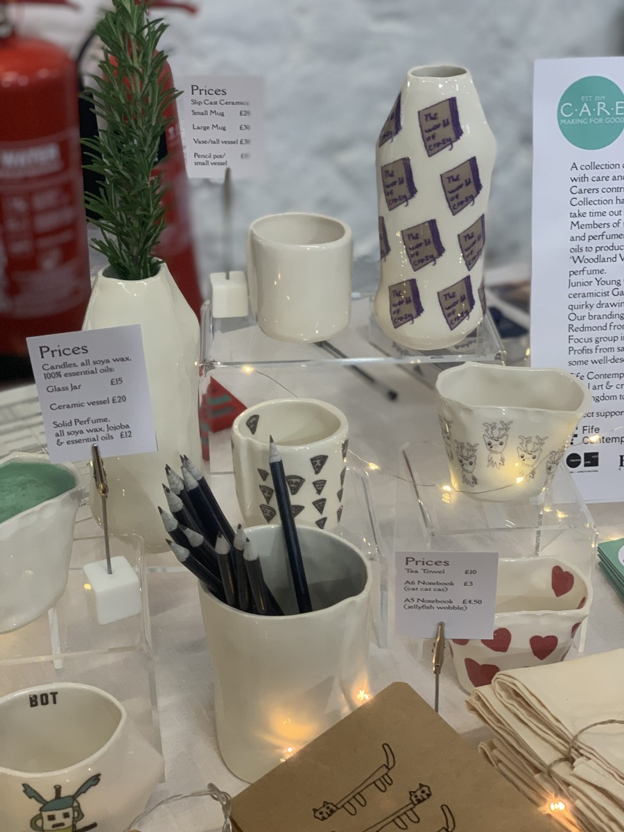 Ceramics and gifts on table at Bowhouse