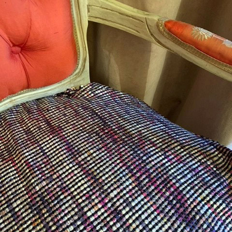 French silk-upholstered chair with new Linton tweed seat covering (detail)