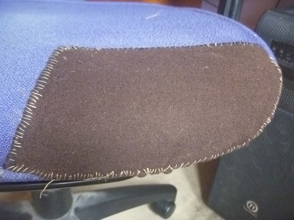 Juliet Wilson's chair with its new padding and patch