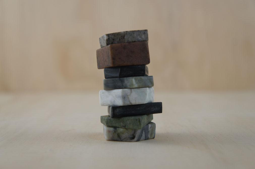 Stefanie Cheong - stack of cut Scottish stones
