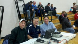 Cable 8 Sports Announcers Mark Quadrozzi, Tim Whall, and Mark Stopa pose for a quick snapshot before the Warriors First Round Game at Silver Lake Regional High School